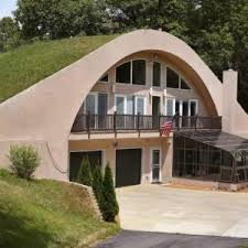 unusual dome homes design comes with stacked stone wall and brown