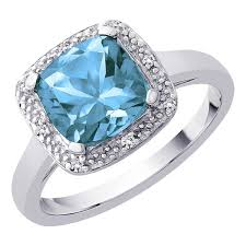 Fake Wedding Rings by Cushion Cut 2 1 10 Ct Blue Topaz And Diamond Halo Ring In