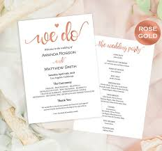 downloadable wedding programs wedding programs printable gold wedding program we do