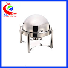 round buffet bain marie food warmer pot chafing dish roll top