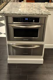 kitchen island with microwave drawer kitchenaid mircowave with cook warming drawer below