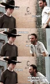 Carl Walking Dead Meme - walking dead rick and carl by smithyy meme center