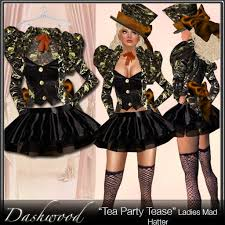 Womens Mad Hatter Halloween Costume Marketplace Tea Party Tease Costume Mad Hatter