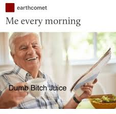 Dumb Bitch Meme - earthcomet me every morning dumb bitch juice bitch meme on me me