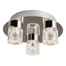 Led Bathroom Ceiling Lights Imperial Chrome Clear Glass With Bubbles Flush 3 Light Led Bathroom