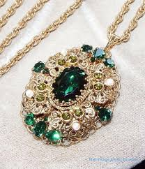 green drop necklace images Vintage west germany green glass rhinestone gold filigree pendant jpg
