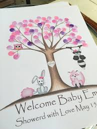 baby shower fingerprint tree customizable woodland animal fingerprint tree