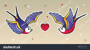 flying birds tattoo designs old tattoo swallows sparrow birds stock vector 358725077