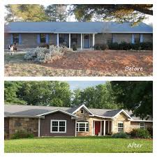 Home Exterior Design Brick And Stone Before And After Exterior Renovation Ranch House Remodel With