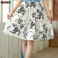 2017 new fashion printed midi skirt women big swing short skirts
