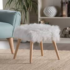 Faux Fur Ottoman Huxley Faux Fur Ottoman Stool By Christopher Home Free