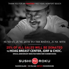 sushi roku hosts anniversary fundraiser to benefit hoag breast