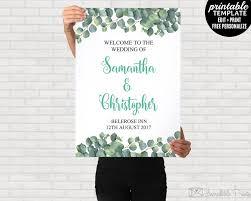 wedding poster template eucalyptus wedding welcome poster printable eucalyptus wedding
