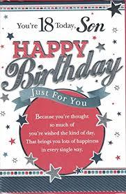 son 18th birthday card you u0027re 18 today son happy birthday just