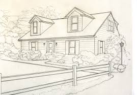 drawing a house house for catelog drawing b greyscale small kathleen kelley