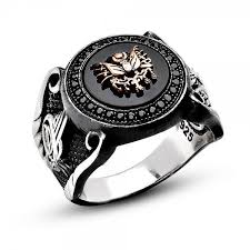 mens silver rings unique onyx and zircon stones 925k sterling silver men s ring