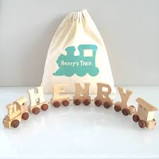 personalised wooden name and gift bag by the blue owl