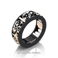 mens skull wedding rings mens modern 14k black and gold skull channel cluster wedding