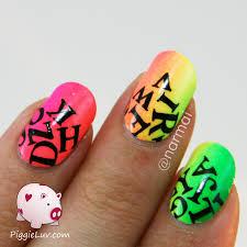 piggieluv neon letter rain nail art