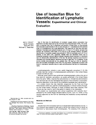 use of isosulfan blue for identification of lymphatic vessels