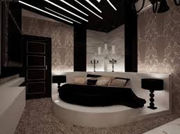 cozy bedroom with great ceiling lamps and artitsic cream wallpaper