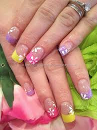 multicoloured lilac pink and yellow glitter acrylic tips with