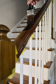 Painting A Banister White How To Gel Stain Ugly Oak Banisters Without Sanding