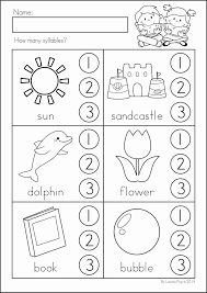 kindergarten worksheet kindergarten counting syllables worksheet