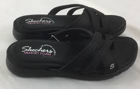 skechers cali women s breeze low bright star flat sandal black 6 m