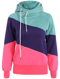cool color block long sleeves hoodie rosegal com