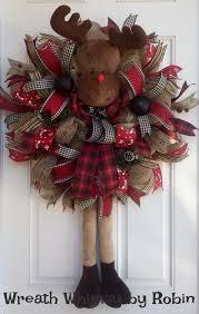 jute mesh reindeer wreath wreath winter