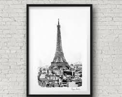 eiffel tower sketch etsy