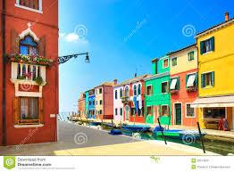 venice landmark burano island canal colorful houses and boats