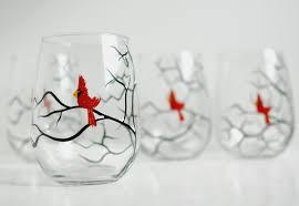 christmas cardinals stemless wine glasses set of 6 hand