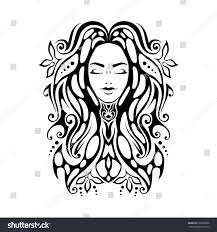 tribal tattoo illustration face close stock illustration