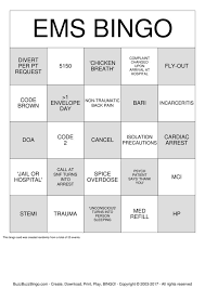 ems bingo cards to print and customize