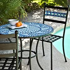 Mosaic Patio Table Top by Amazon Com Coral Coast Marina Mosaic Bistro Set Patio Lawn U0026 Garden