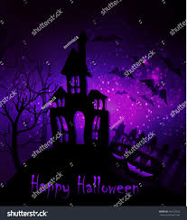 halloween haunted house bats fence trees stock vector 464129432