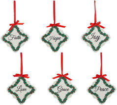 set of 6 inspirational porcelain ornaments by valerie page 1