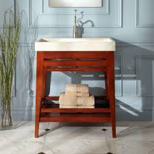 unstained teak wood trough sink vanity bathroom with open shelf