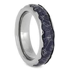 blue titanium wedding band blue mokume gane ring titanium wedding band with wavy edges 2624