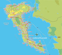 St John Map Map With Distances From Corfu Town Corfu Benitses Travel Guide