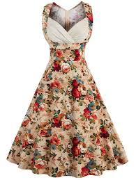 vintage dresses vintage dresses khaki m vintage floral print high waisted prom
