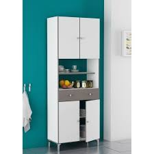 loge tout cuisine buffet de cuisine 67 cm blanc velours et décor basalte