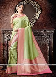 pista colour green and pink colour kanchipuram spun silk woven saree