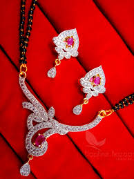 Gift For Wife Daphne Pink Zircon Designer Mangalsutra Set For Women Gift For Wife