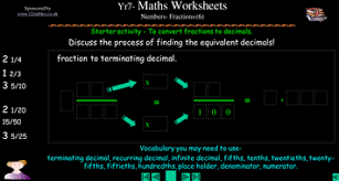 ks3 converting fractions to decimals worksheets by squidley