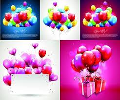 balloon birthday greeting card festival vector free vector