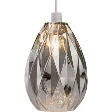 Glass Pendant Light Fitting Homebase Ceiling Light Neptune Glass Easy Fit Pendant Smoke