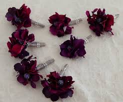 mens boutineer eggplant purple wedding boutonniere men s silk flower groom